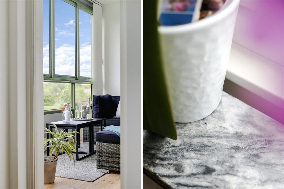 Härligt ljusinsläpp och snygga fönsterbänkar.
