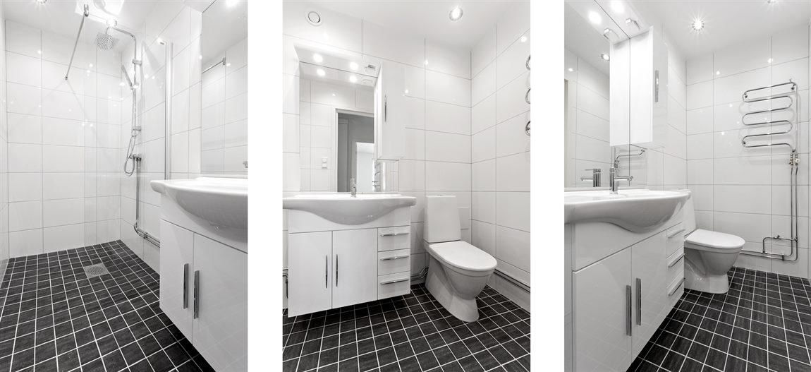 Totalrenoverad och stilren dusch/WC med takdusch