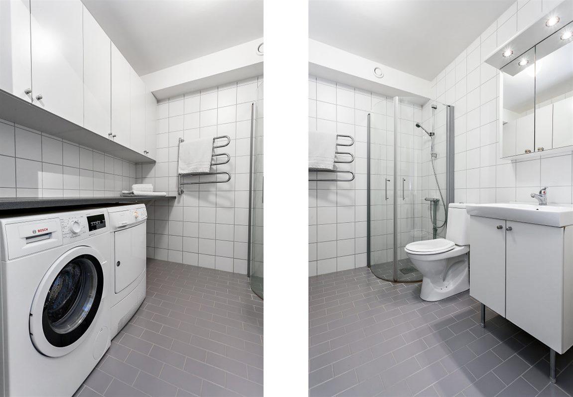 ... med praktisk tvättavdelning och förvaringsmöjligheter