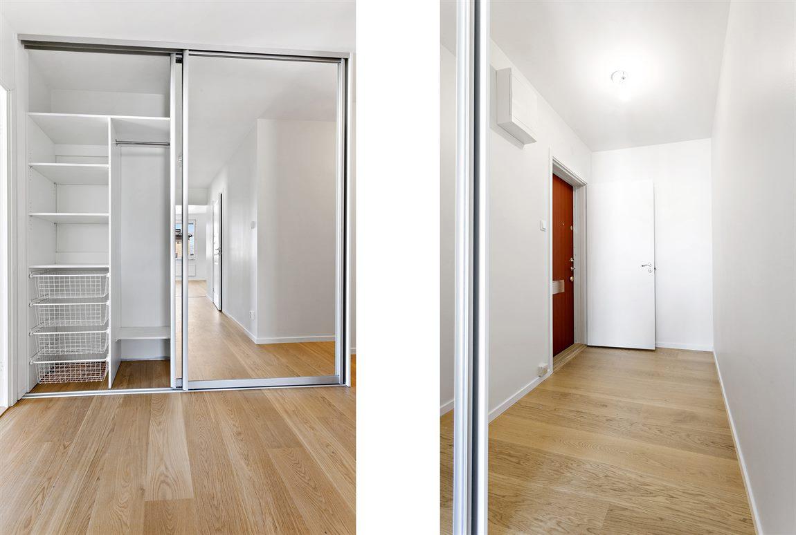 Ljus och välkomnande hall/entré med optimala förvaringslösningar