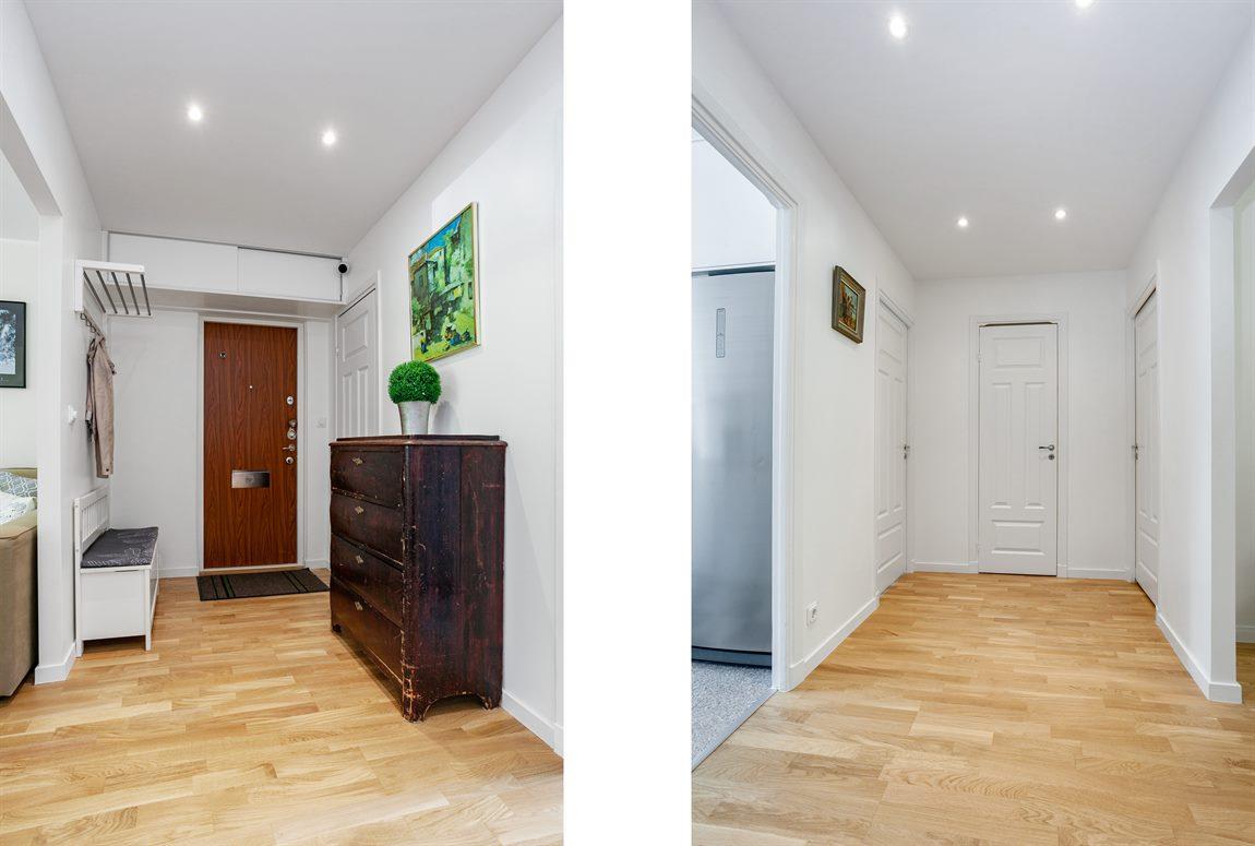 Ljus och välkomnande hall/entré med spotlights i tak