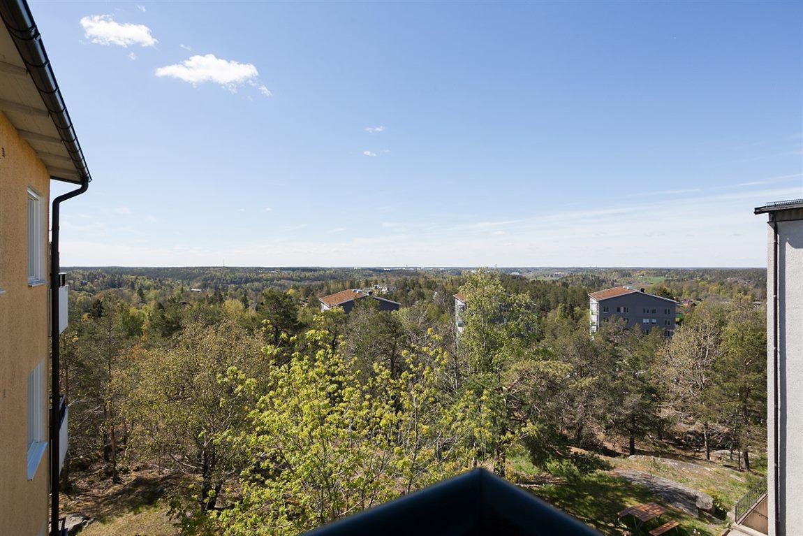 Fin och lummig utsikt från balkongen