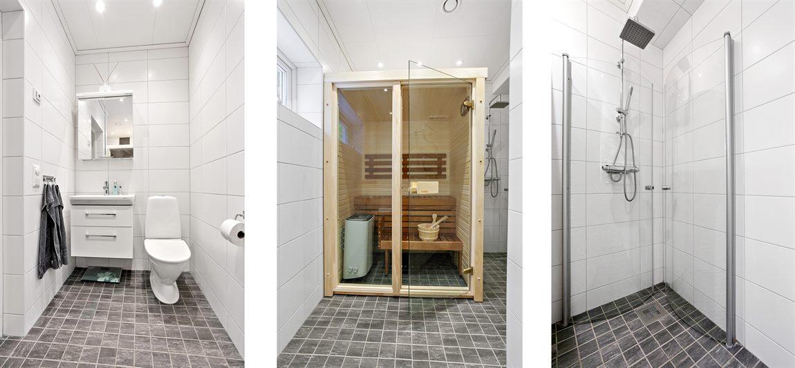 Stilren och helkaklad dusch/WC/bastu på entréplan